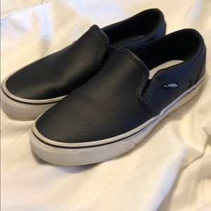VANS black white slip-ons loafers size 9 shoes